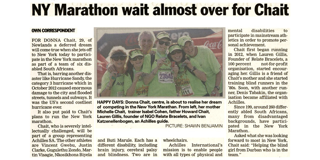 Sunday Weekend Argus - NY Marathon wait almost over for Chait