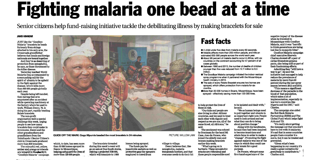 Sunday Weekend Argus - Fighting malaria one bead at a time